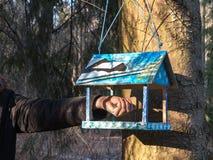 Красивая деревянная смертная казнь через повешение фидера birdhouse (коробки вложенности) на дереве в парке Позаботиться о животн Стоковые Фотографии RF