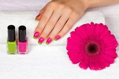 Красивая женская рука с маникюром 2 цветов стоковое фото rf