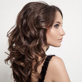 Красивая женщина брюнет. Курчавые длинные волосы. стоковые фотографии rf