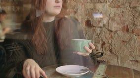 Красивая женщина выпивает горячий шоколад в зиме акции видеоматериалы
