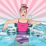 Красивая женщина выпивая Шампань в джакузи Иллюстрация искусства шипучки иллюстрация штока