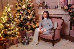Красивая женщина в длинном играет в гольф и связанное платье сидит в розовом стуле Женщина и рождество Чувствительный интерьер ро стоковые фото