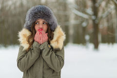 Красивая женщина в пальто и меховой шапке зимы Стоковая Фотография RF