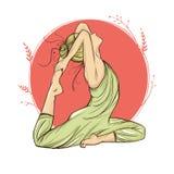 Красивая женщина в представлении на круглую предпосылку, нарисованную вручную, векторе йоги Стоковое Изображение