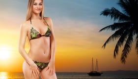 Красивая женщина в сексуальном бикини над предпосылкой захода солнца Стоковые Фото