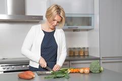 Красивая женщина в современной кухне Стоковое фото RF