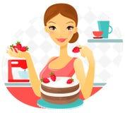 Красивая женщина делая торт с клубникой вектор Стоковое Изображение RF
