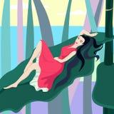 Красивая женщина лежа на заводах лист Стоковая Фотография RF