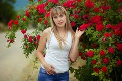 Красивая женщина наслаждаясь полем маргаритки, славной женщиной лежа вниз в луге цветков, милый ослаблять девушки внешний, имеющ  Стоковое Изображение RF