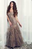 Красивая женщина очарования в роскошном платье представляя на спальне Стоковая Фотография