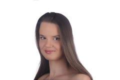 Красивая женщина, портрет на белизне Стоковое Изображение