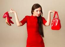 Красивая женщина после ходить по магазинам. Стоковая Фотография RF