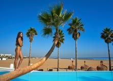 Красивая женщина стоя на изогнутой пальме Стоковое Фото