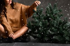 Красивая женщина с елью рождества в связанной блузке свитера под снегом стоковое изображение rf