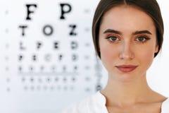 Красивая женщина с диаграммой испытания глаза на офисе офтальмологии Стоковые Фотографии RF