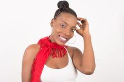 Красивая женщина с красной вуалью на ее стороне стоковое изображение