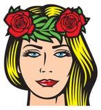 Красивая женщина с красными розами Стоковая Фотография RF