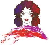 Красивая женщина с красочными волосами иллюстрация вектора