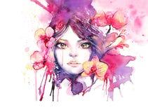 Красивая женщина с орхидеей цветет - illustr моды акварели Стоковые Фотографии RF