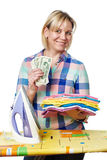 Красивая женщина с долларами и утюгом Стоковые Изображения RF