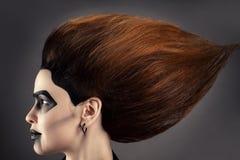 Красивая женщина с пышными волосами и темный состав в стороне профиля Стоковые Фотографии RF