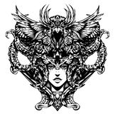 Красивая женщина с рожками на ее голове иллюстрация вектора