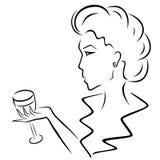 Красивая женщина с рюмкой в руке бесплатная иллюстрация