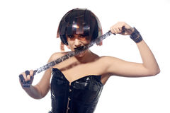 Красивая женщина с стилем причёсок filmstrips Стоковая Фотография RF