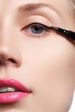 Красивая женщина с яркой составляет глаз с сексуальным черным составом вкладыша Форма стрелки моды Шикарный состав вечера Остросл Стоковое Фото