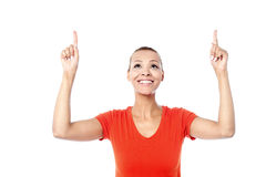 Красивая женщина указывая вверх Стоковое Изображение RF