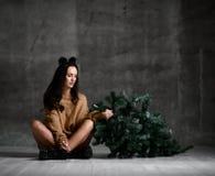Красивая женщина хипстера с елью рождества сидя в сексуальной связанной блузке свитера стоковое изображение rf