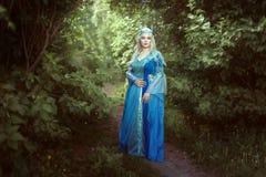 Красивая женщина эльфа стоя в fairy лесе Стоковое Изображение RF