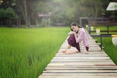 Красивая женщина Lao сидя самостоятельно с украшает цветок на деревянном мосте в зеленом поле риса Стоковая Фотография RF