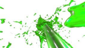Красивая жидкость брызга фонтана любит зеленый сок, фонтан при жидкостный поток поднимая высоко 3d представляют с очень высоко иллюстрация вектора