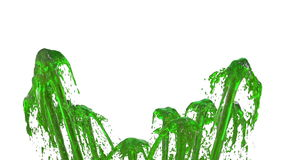 Красивая жидкость брызга фонтана любит зеленый сок, фонтан при много потоков жидкости поднимая высоко 3d представляют с очень бесплатная иллюстрация