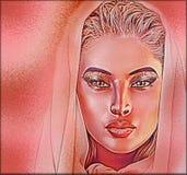 Красивая завуалированная женщина, конец вверх по стороне, абстрактное искусство Стоковое Изображение