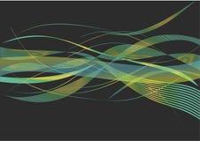 Красивая зеленая и желтая комбинация развевает в черной предпосылке бесплатная иллюстрация