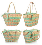 Красивая зеленая плетеная сумка стоковое изображение