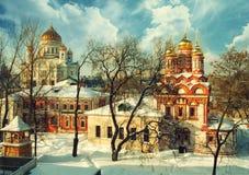 Красивая зима в Москве Стоковое Изображение RF