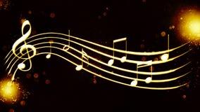 Красивая золотая нотация музыки предпосылки Стоковое Фото