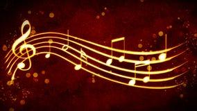 Красивая золотая нотация музыки предпосылки Стоковые Изображения