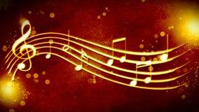 Красивая золотая нотация музыки предпосылки Стоковое Изображение