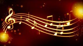 Красивая золотая нотация музыки предпосылки Стоковое Изображение RF
