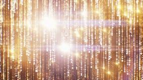 Красивая золотая предпосылка с падающими звездами и точками отстает безшовное Закрепленная петлей анимация 3d абстрактных частице иллюстрация вектора