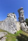 Красивая известковая скала в польском юрском нагорье Кракова-Czestochowa гористой местности, Польше стоковое фото rf