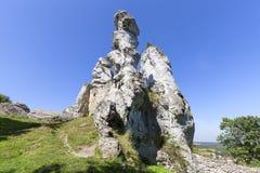 Красивая известковая скала в польском юрском нагорье Кракова-Czestochowa гористой местности, Польше стоковые изображения rf