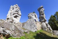 Красивая известковая скала в польском юрском нагорье Кракова-Czestochowa гористой местности, Польше стоковые изображения