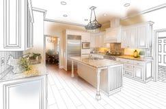 Красивая изготовленная на заказ комбинация чертежа и фото кухни на белизне бесплатная иллюстрация