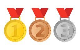 Красивая иллюстрация дизайна вектора медали победителя стоковые фотографии rf