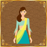 Красивая индийская женщина в зеленом платье Иллюстрация штока